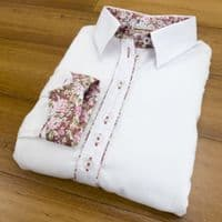 Grenouille Ladies Long Sleeve White Shirt with Pink and White Flower Print Detail